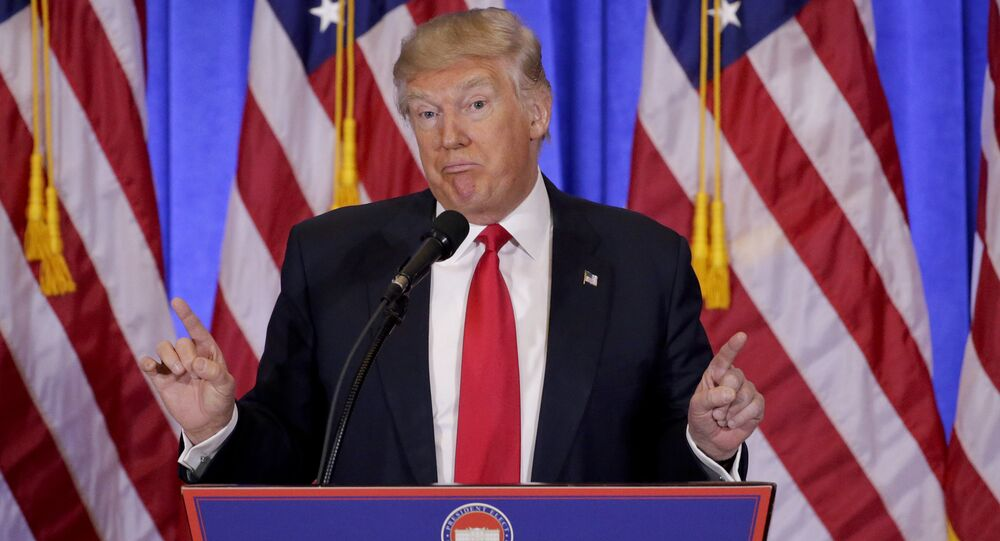 FILE - In this file photo dated Wednesday, Jan. 11, 2017, President-elect Donald Trump speaks during his first news conference as President-elect, in New York