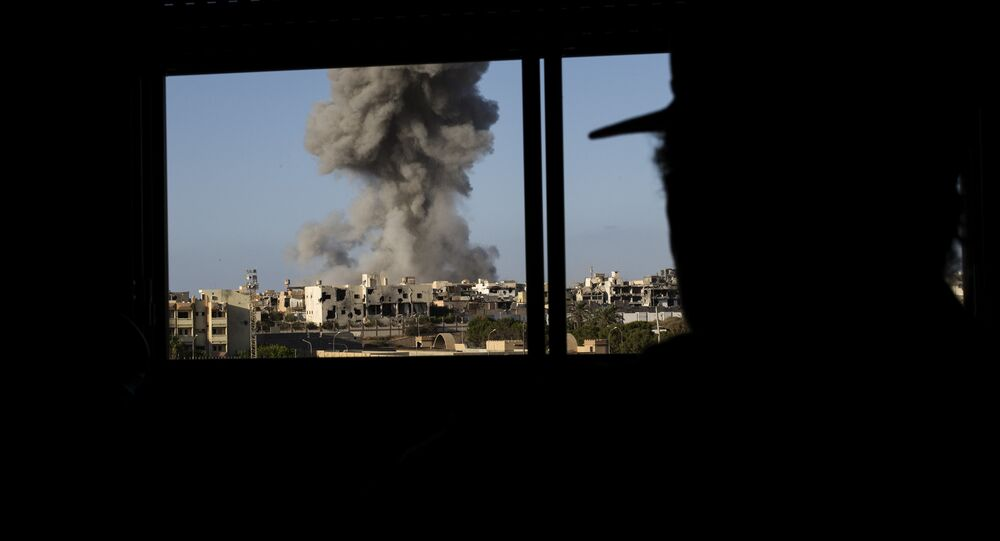 Smoke rise after an airstrike on the District 3 of Sirte, the last stronghold of Islamic State (IS) (File)
