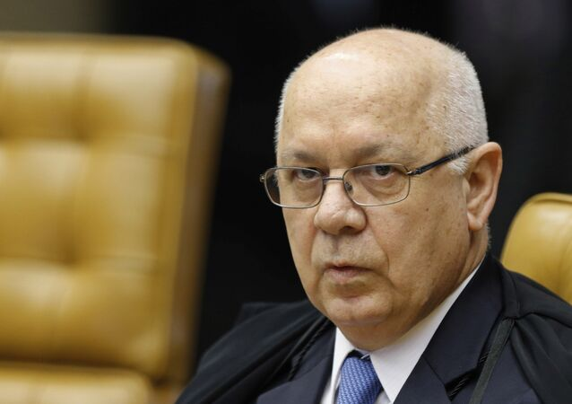 FILE- In this March 4, 2015, file photo, Brazil's Supreme Court Justice Teori Zavascki attends a session of the Supreme Court in Brasilia, Brazil. Zavascki's son said that his father was on a plane that crashed off the coast of the city in Rio de Janeiro, Thursday, Jan. 19, 2017.
