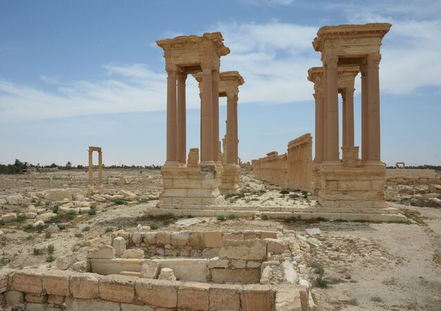 The colonnade avenue and Tetrapylon in the historical part of Palmyra (the view from the Valley of Tombs)