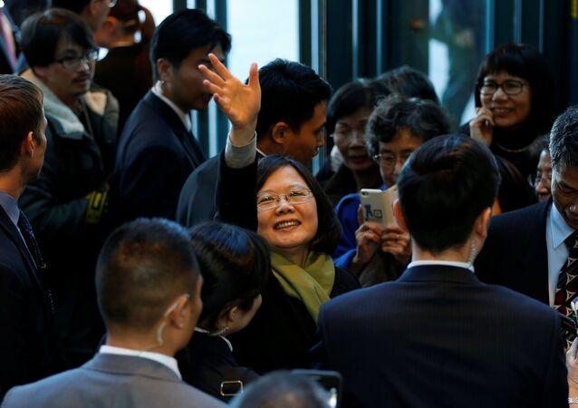 Taiwan President Tsai Ing-wen waves to supporters (File)