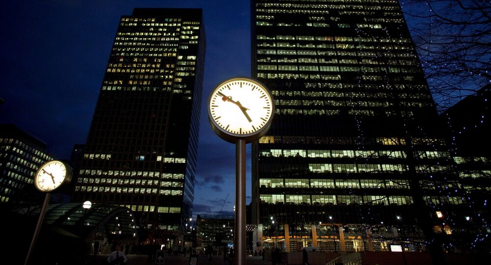 A view of offices at the financial district of Canary Wharf in London, Britain