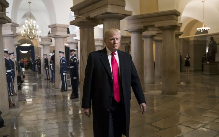 President-elect Donald Trump walks to his swearing-in ceremony at the Capitol in Washington, D.C., U.S. January 20, 2017