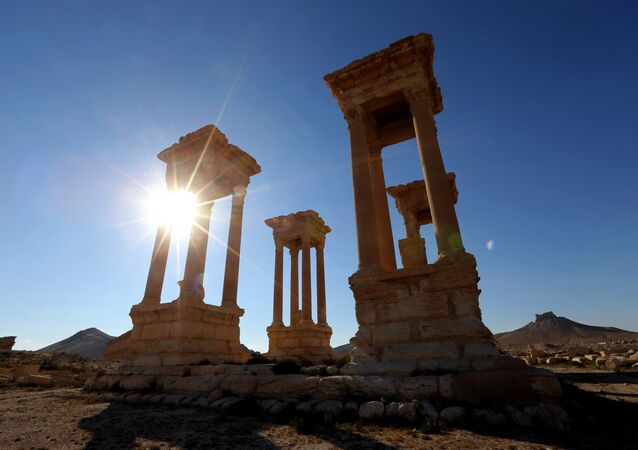 This file photo taken on March 31, 2016 shows a view of the ancient Syrian city of Palmyra