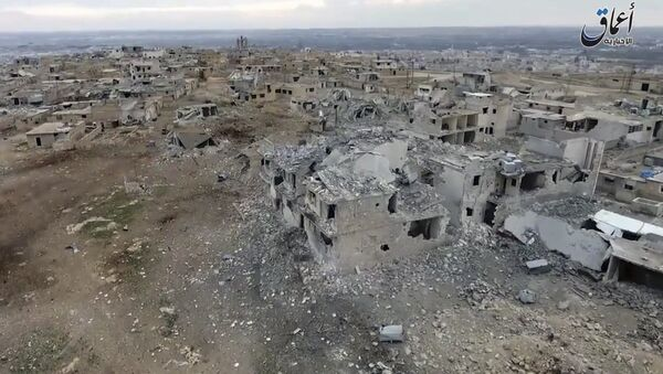 Aerial image of a neighborhood damaged by Turkish airstrikes in the northern Syrian town of al-Bab, in Aleppo province, Syria (File) - Sputnik International