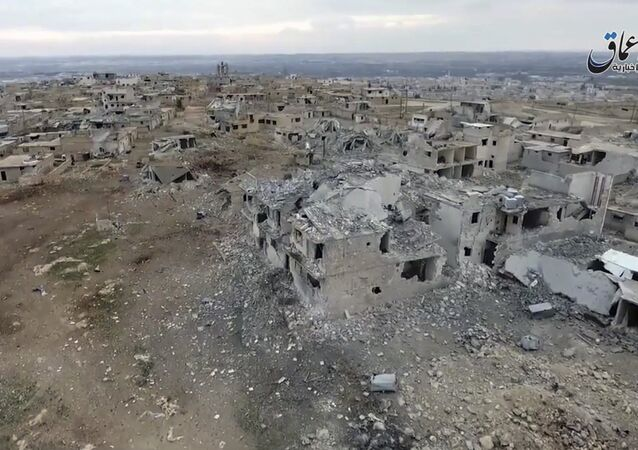 Aerial image of a neighborhood damaged by Turkish airstrikes in the northern Syrian town of al-Bab, in Aleppo province, Syria (File)