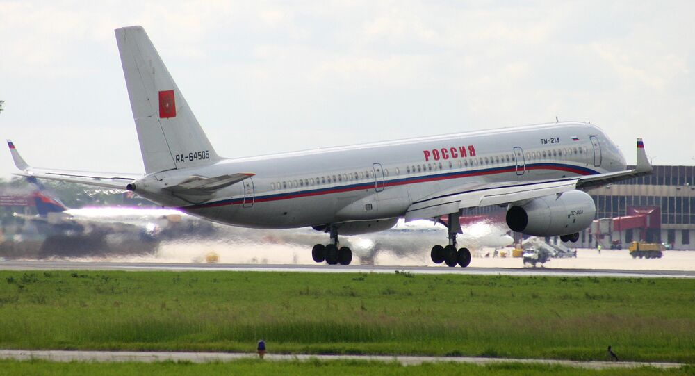 TU 214 liner lands at the Sheremetyevo airport, Moscow