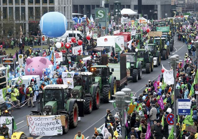 Farmers and consumers protest with a tractor convoy as part of Wir haben es satt demonstrations against genetic engineering in Berlin, Germany, January 21, 2017
