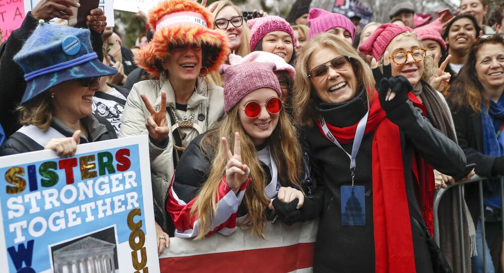 Gloria Steinem, center right, greets protesters at the barricades before speaking at the Women's March on Washington during the first full day of Donald Trump's presidency, Saturday, Jan. 21, 2017 in Washington.