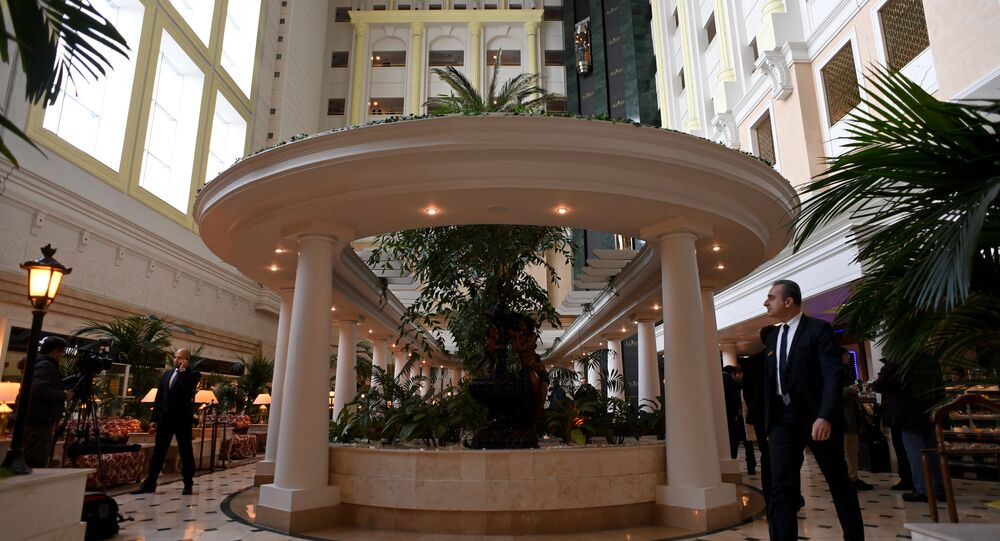 A view of the lobby of Astana's Rixos President Hotel, the place that will host Syria peace talks, in Astana, on January 22, 2017