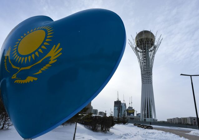 A picture taken on January 22, 2017 shows the Baiterek monument in downtown Astana