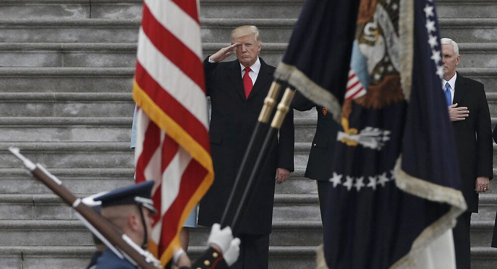 Newly inaugurated U.S. President Donald Trump salutes as he presides over a military parade during Trump's swearing ceremony in Washington, U.S., January 20, 2017