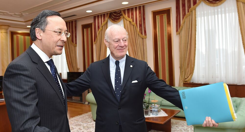 The United Nations' peace envoy for Syria, Staffan de Mistura, meets with Kazakh Foreign Minister Kairat Abdrakhmanov in Astana on January 22, 2017 on the eve of the start of the Astana peace talks on Syria