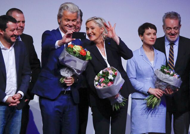 France's National Front leader Marine Le Pen and Netherlands' Party for Freedom (PVV) leader Geert Wilders take a Selfie during a European far-right leaders meeting to discuss about the European Union, in Koblenz, Germany, January 21, 2017