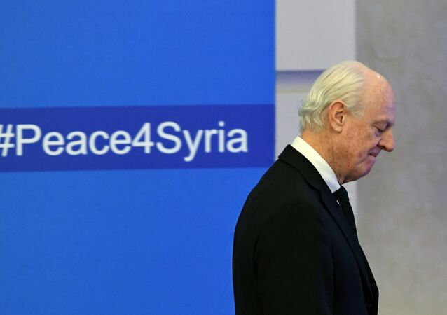 UN envoy for Syria Staffan de Mistura arrives to attend the first session of Syria peace talks at Astana's Rixos President Hotel on January 23, 2017.