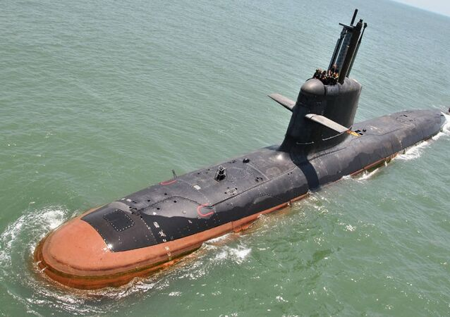 INS Kalvari at Sea trials