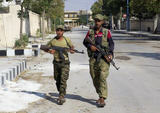Free Syrian Army fighters patrol in Jarablus, Syria. (File)