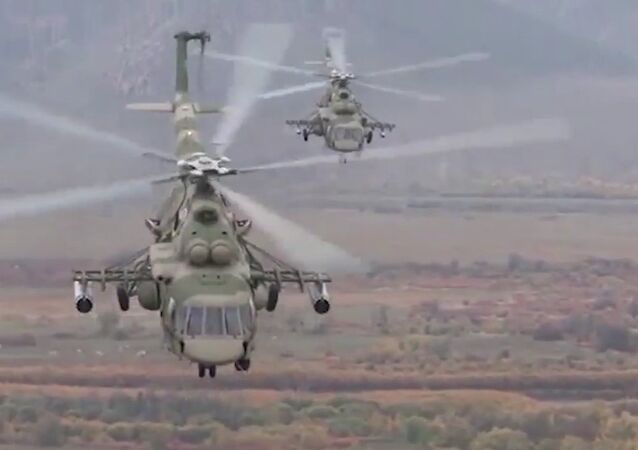Flying Terminators: Russia's Mi-8AMTSh Helicopters Take Part in Drills