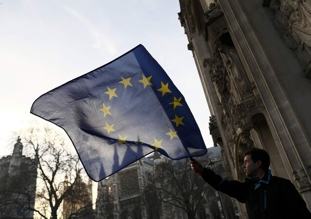 A man waves a European Union flag outside the Supreme Court before the decision of a court ruling on whether Theresa May's government requires parliamentary approval to start the process of leaving the European Union, in Parliament Square, central London, Britain, January 24, 2017.