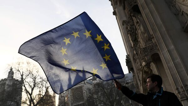 A man waves a European Union flag outside the Supreme Court before the decision of a court ruling on whether Theresa May's government requires parliamentary approval to start the process of leaving the European Union, in Parliament Square, central London, Britain, January 24, 2017. - Sputnik International