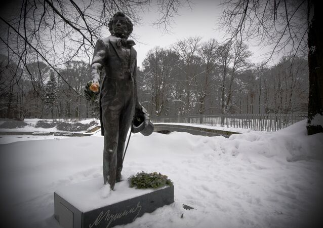 The monument to the famous Russian poet Alexander Pushkin in Kronvalda park in Riga