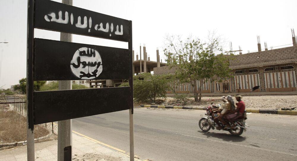 Al-Qaida logo is seen on a street sign in Yemen. (File)