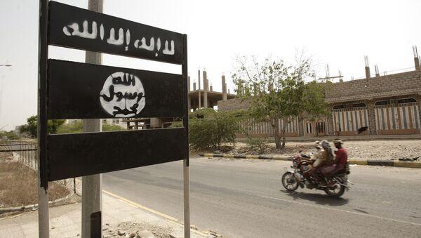 Al-Qaeda logo is seen on a street sign in Yemen. (File) - Sputnik International