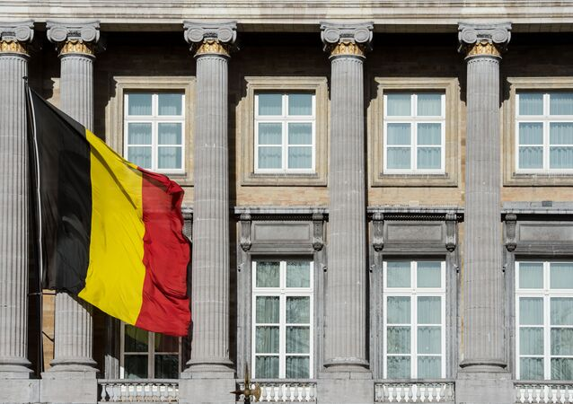 The Belgian flag flies outside the Belgian federal parliament in Brussels. (File)