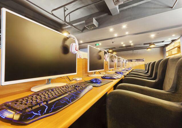Internet cafe interior.