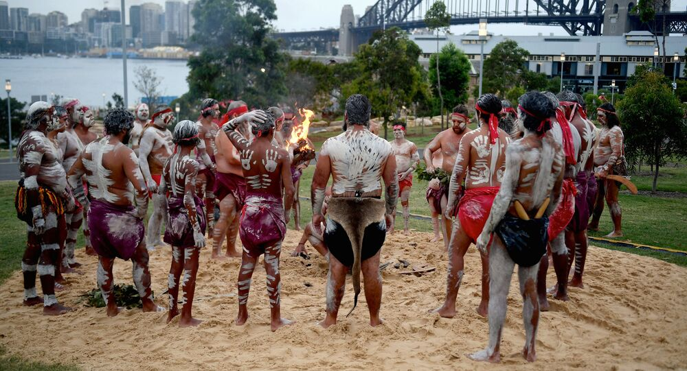 Traditionally dressed Aboriginal performers participate in a smoking ceremony on the foreshore of Sydney Harbour as part of Australia Day celebrations in Sydney, Australia, January 26, 2017