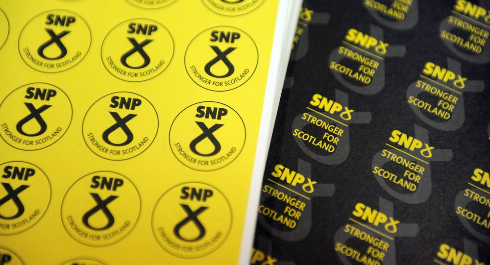 Memorabilia is on sale at a stand at the Scottish National Party (SNP) Conference in Glasgow, Scotland. (File)