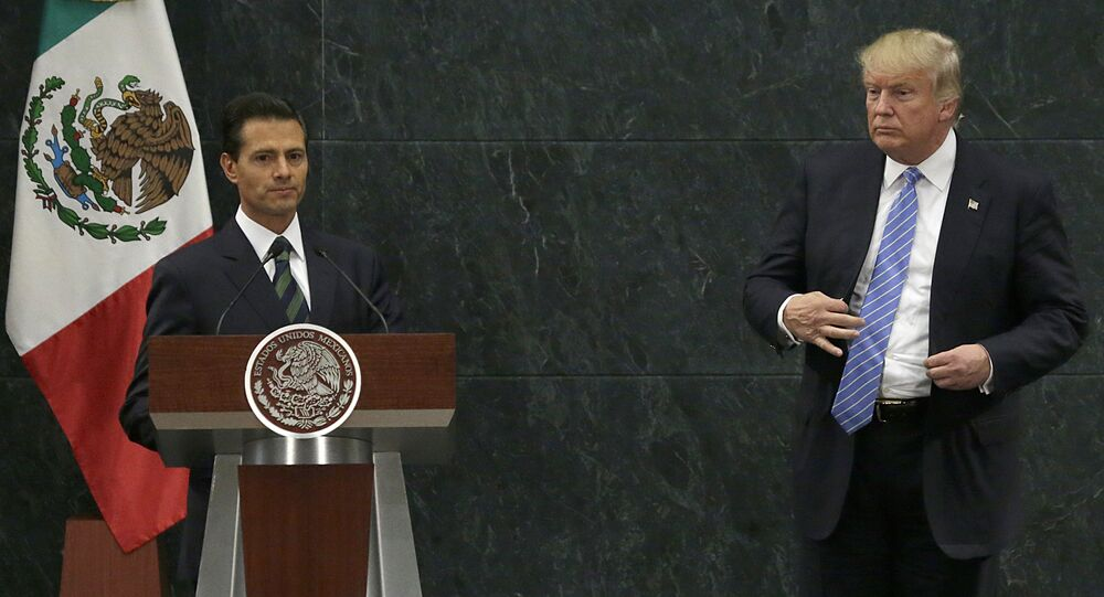 Mexico's President Enrique Pena Nieto and Republican presidential nominee Donald Trump end their joint statement at Los Pinos, the presidential official residence, in Mexico City. (File)