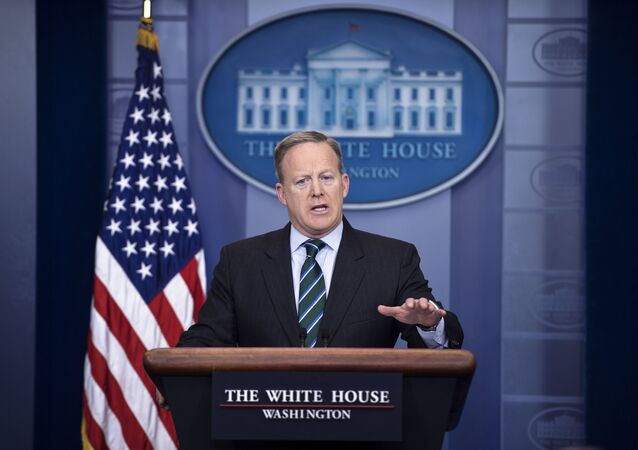 White House Press Secretary Sean Spicer speaks during the daily briefing at the White House in Washington, DC