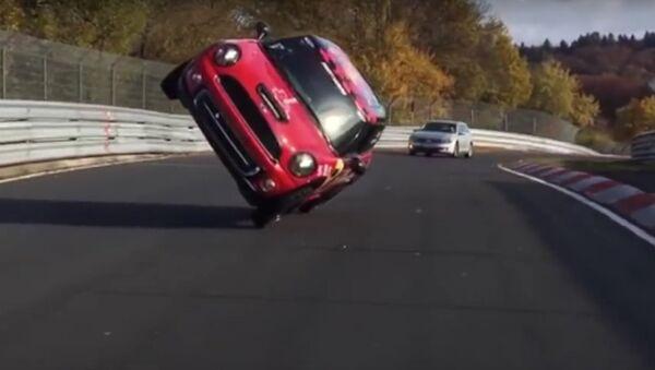 Fastest side wheelie lap of the Nürburgring Nordschleife in a car - Guinness World Records - Sputnik International