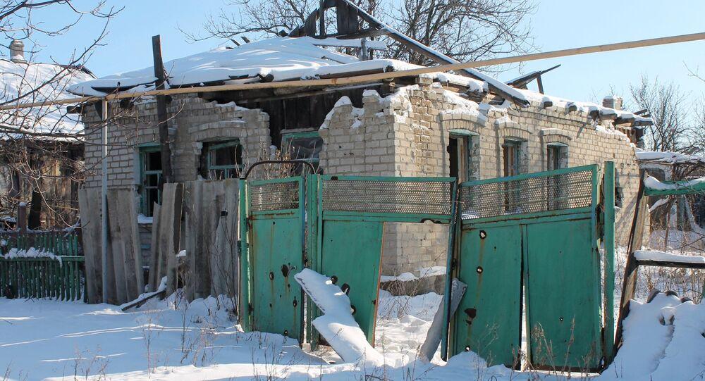 A destroyed house in Spartak village, Donetsk region