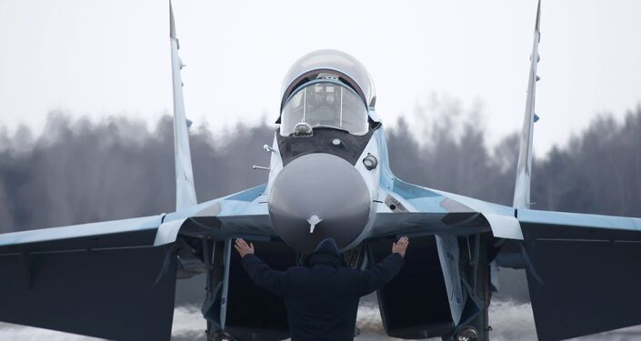 A new multi-role Russian MiG-35 fighter lands during its international presentation at the MiG plant in Lukhovitsy outside Moscow, Russia, January 27, 2017