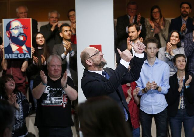 Former European Parliament president Martin Schulz reacts after his speech at a meeting of the Social Democratic Party (SPD) at their party headquarters in Berlin, Germany, January 29, 2017, were Schulz was officially appointed SPD party leader