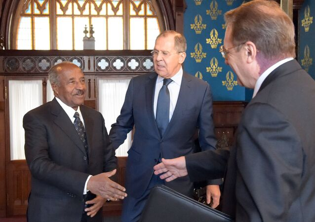 Russian Foreign Minister Sergei Lavrov meets with his Eritrean counterpart Osman Saleh