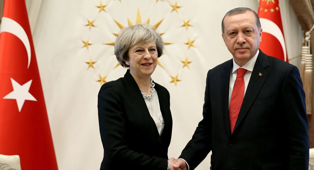 Turkish President Tayyip Erdogan meets with Britain's Prime Minister Theresa May at the Presidential Palace in Ankara, Turkey, January 28, 2017.