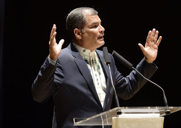 Ecuador's President, Rafael Correa, speaks during the Valencia cultural night at the Palacio de Congresos in Valencia on January 29, 2017
