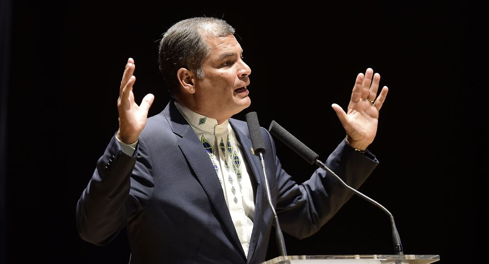 Ecuador's President, Rafael Correa, speaks during the Valencia cultural night at the Palacio de Congresos in Valencia on January 29, 2017