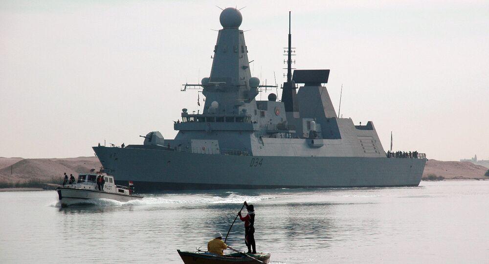 The British destroyer HMS Diamond, seen here sailing through the Suez Canal, December 2, 2012