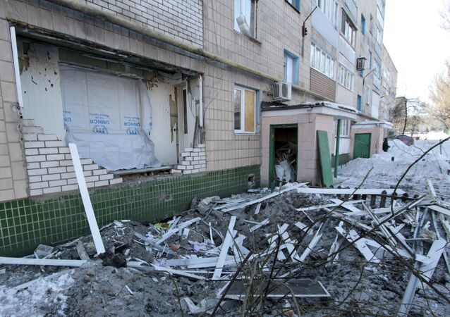A destroyed balcony of a residential building on Partizanskaya Street in Donetsk, damaged during a shelling by the Ukrainian military