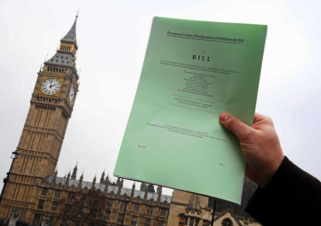 A journalist poses with a copy of the Brexit Article 50 bill, introduced by the government to seek parliamentary approval to start the process of leaving the European Union, in front of the Houses of Parliament in London, Britain, January 26, 2017.