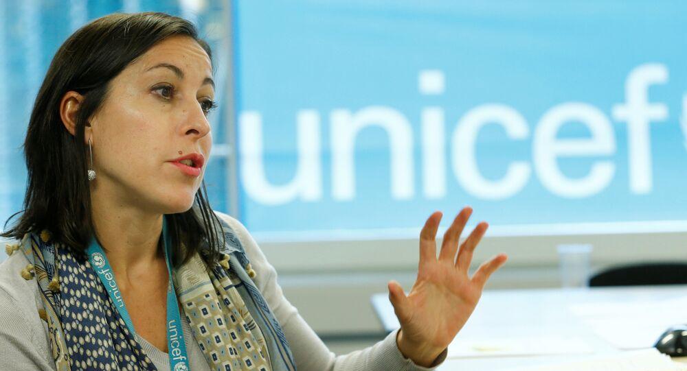 Meritxell Relano, UNICEF Yemen Representative, attends an interview with Reuters in Geneva, Switzerland, January 30, 2017. Picture taken January 30, 2017.