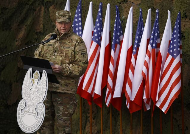 US Army Europe Commanding General Ben Hodges speaks during the inauguration ceremony of bilateral military training between US and Polish troops in Zagan, Poland, January 30, 2017.