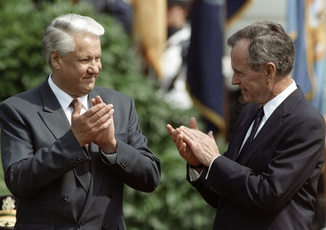 Then Russian President Boris Yeltsin (left) and then US President George Bush Sr. (right) during official welcoming ceremony on the White House lawn, 1992.
