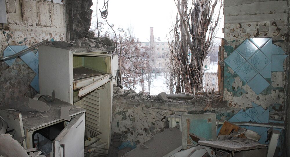An apartment damaged by an attack of the Ukrainian armed forces in Donetsk.