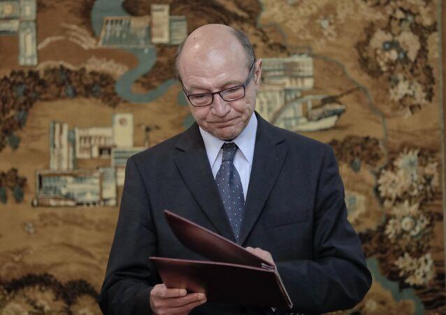 Former Romanian President Traian Basescu. (File)