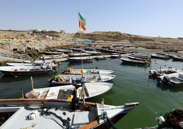 Fishing boats are moored in the southern Iranian port city of Chabahar